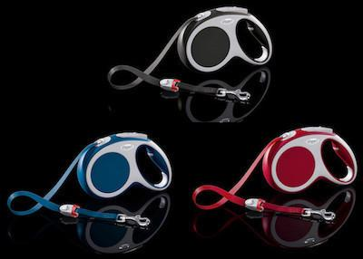FLEXI Vario Tape Leash Large - 8m/26ft (50kg/110lbs) - Anthracite / Red / Blue