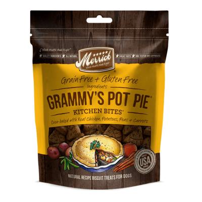 merrick kitchen bites dog treats grammys pot pie yellow bag