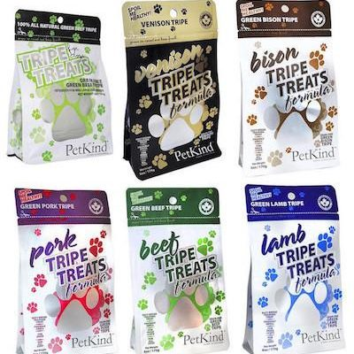 PetKind Tripe Treats for Dogs (Green Tripe / Venison / Bison / Beef / Pork / Lamb)