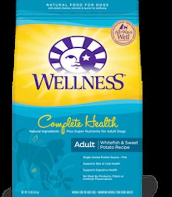 WELLNESS COMPLETE HEALTH Whitefish and Sweet Potato Dry Dog Food for All Life Stages