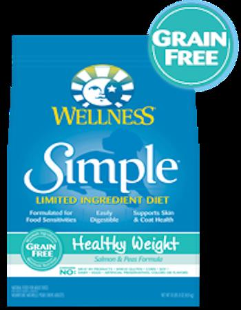 WELLNESS CORE SIMPLE SOLUTIONS Healthy Weight Diet and Weight Management Salmon and Peas Dry Dog Food for All Life Stages - Grain Free