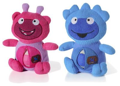 CHARMING PET - PLUSH DOG TOYS - Monster Belly Rollers - Pink / Blue