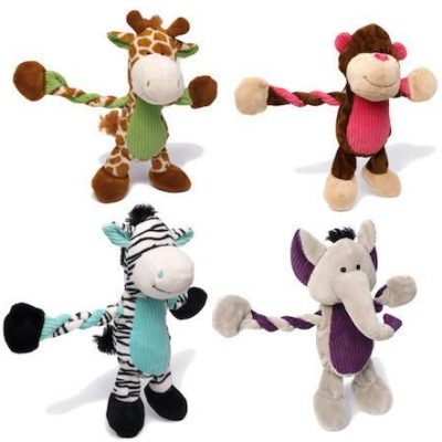 CHARMING PET - PLUSH DOG TOYS - Pulleez - Giraffe / Elephant / Monkey / Zebra