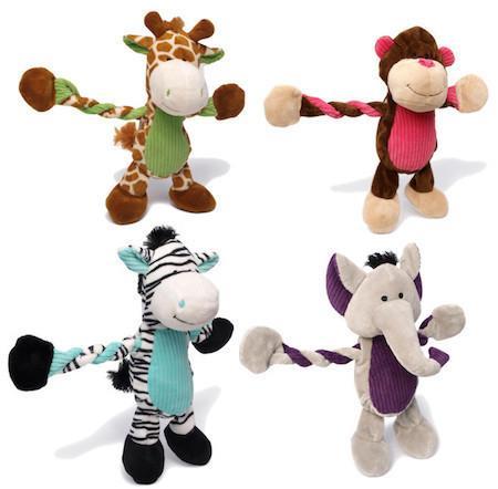 CHARMING PET - PLUSH DOG TOYS - Pulleez - Giraffe / Elephant / Monkey / Zebra