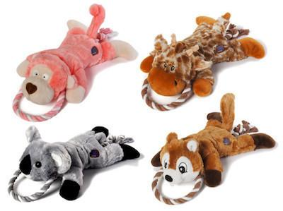 CHARMING PET - PLUSH DOG TOYS - Ropez Gone Wild - Chipmunk / Koala / Giraffe / Monkey