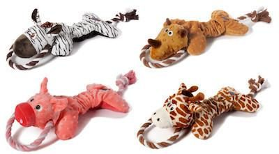 CHARMING PET - PLUSH DOG OYS - Scrunch Bunch - Giraffe / Pig / Rhino / Zebra