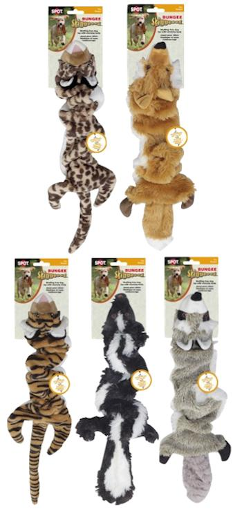 SKINNEEEZ DOG TOYS - BUNGEE - Fox / Raccoon / Skunk / Tiger / Leopard