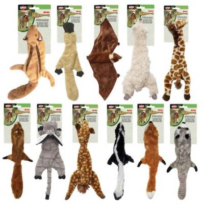 SKINNEEEZ DOG TOYS - MINI - Fox / Squirrel / Skunk / Raccoon / Flying Squirrel / Spotted Deer / Giraffe / Wooly Sheep / Donkey / Platypus / Flying Bat