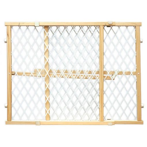 Four Paws Wood Locking Gate with Plastic Mesh