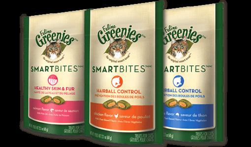 Greenies Feline Smartbites Hairball Control or Skin and Fur Treats