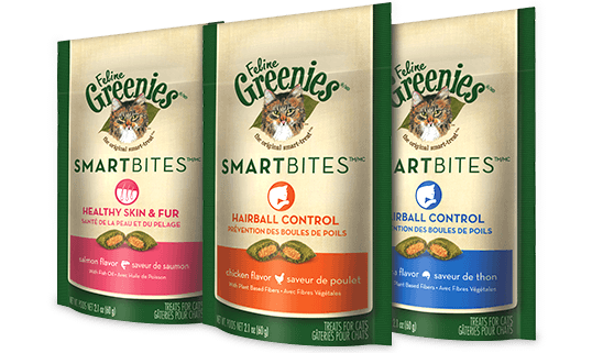 Greenies Feline Smartbites Hairball Control or Skin and Fur Treats