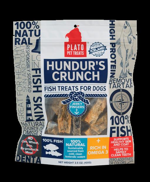 Plato Pet Treats Hundur's Crunch Jerky Fingers Fish Chews for Dogs