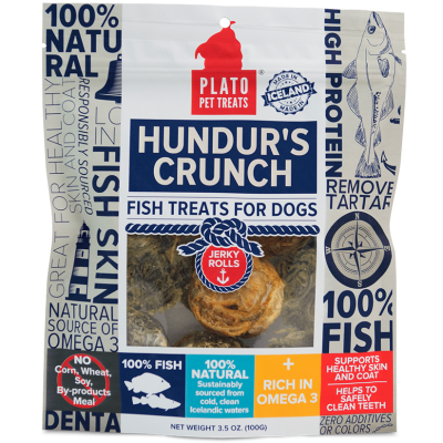 Plato Pet Treats Hundur's Crunch Jerky Rolls Fish Chews for Dogs