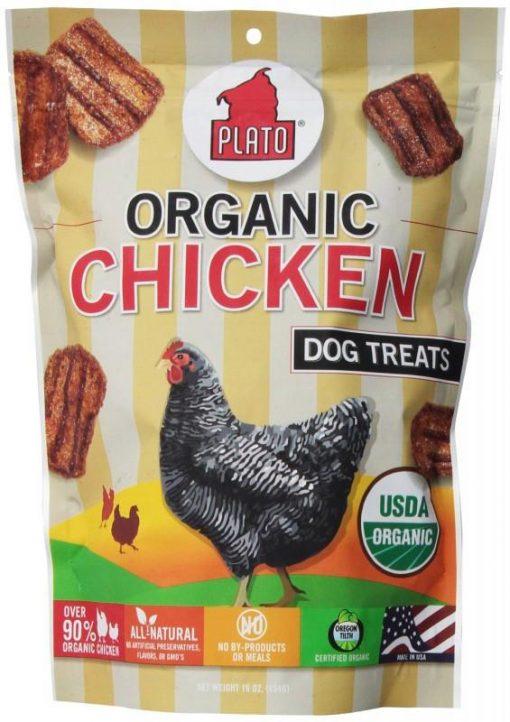 Plato Pet Treats Organic Chicken Strips for Dogs