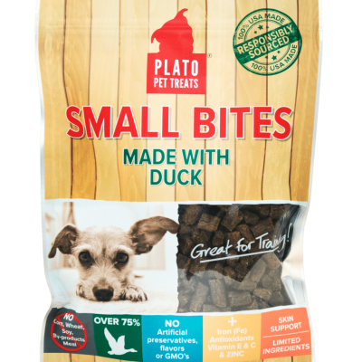 Plato Pet Treats Small Bites Duck Chews for Dogs