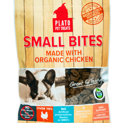 Plato Pet Treats Small Bites Organic Chicken Chews for Dogs