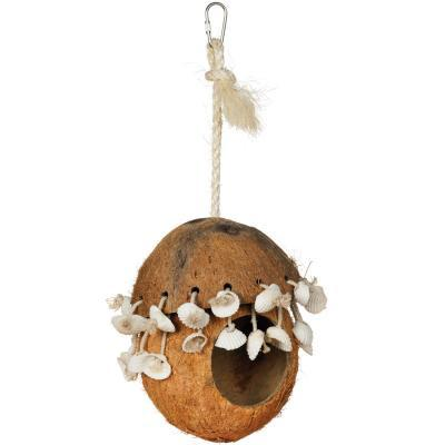Prevue Hendryx Coco Hideaway Hut with Shells Bird Cage Toy