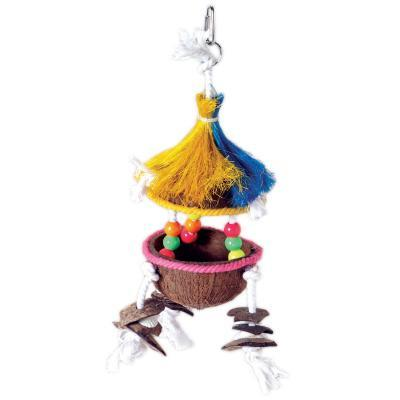 Prevue Hendryx Tropical Teasers Tiki Hut Bird Cage Toy