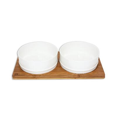 buy Be-One-Breed-Stylish-White-Ceramic-and-Bamboo-Pet-Dish-Set