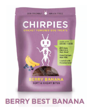 Chirpies Tender Chunks Cricket Flour Dog Treats - Berry Best Banana