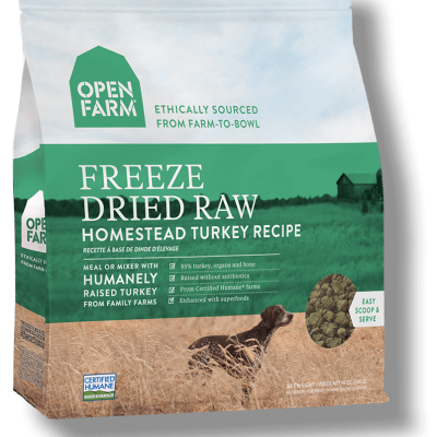 Open Farms Freeze Dried Dog Food - Homestead Turkey - Grain Free - for All Life Stages