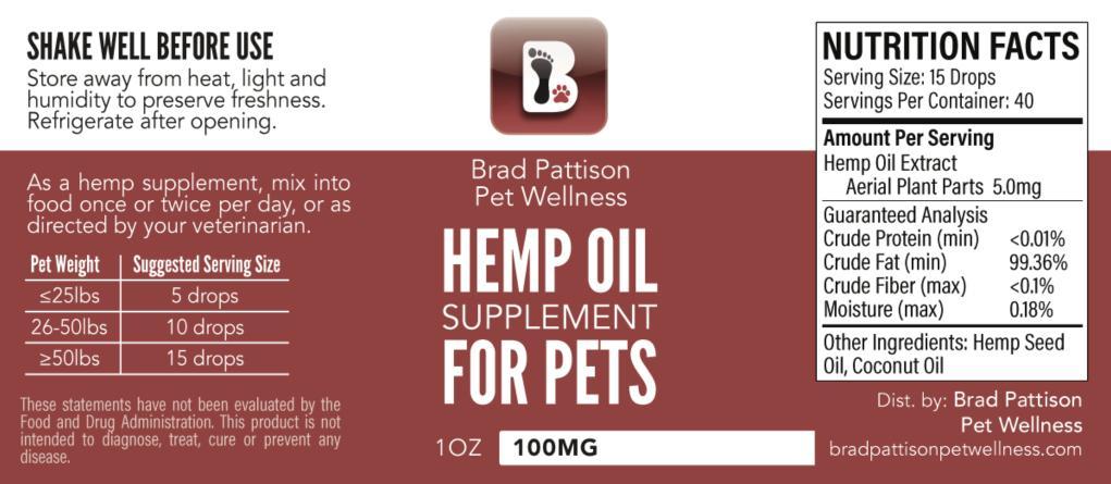 Buy Brad Pattison CBD Hemp Oil online in Canada