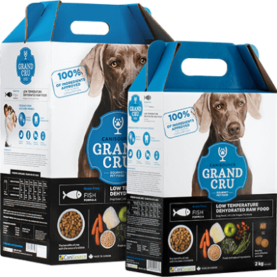 BUy Canisource Grand Cru Grain Free Fish Dehydrated Raw Dog Food blue and white box