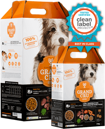 Buy Canisource Grand Cru Grain Free Pork and Lamb Dehydrated Dog Food online from our warehouse in Canada orange box