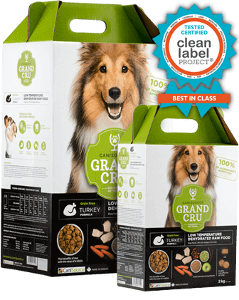 Buy Canisource Grand Cru Grain Free Turkey Dehydrated Dog Food online Canada green box