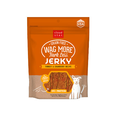 buy Cloud-Star-Wag-More-Bark-Less-Grain-Free-Jerky-Turkey-And-Cranberry-For-Dogs
