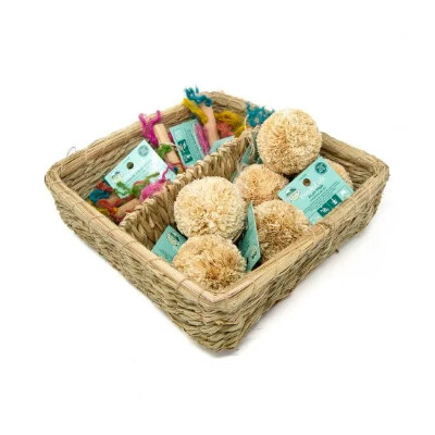 buy Oxbow-Enriched-Life-Play-Pom-and-Rainbow-Knot-Stick-Basket-For-Small-Animals
