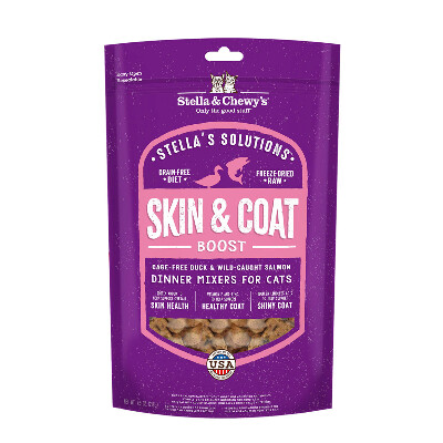 buy Stella-and-Chewys-Solutions-Skin-and-Coat-Duck-and-Salmon-Freeze-Dried-Raw-Cat-Food